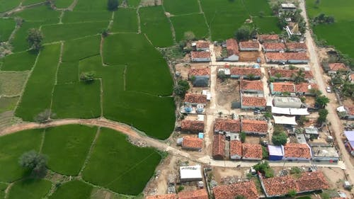 Drone Footage of a Village Surrounded by Farmlands