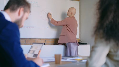 A Woman Presenting A Graph On The Whiteboard