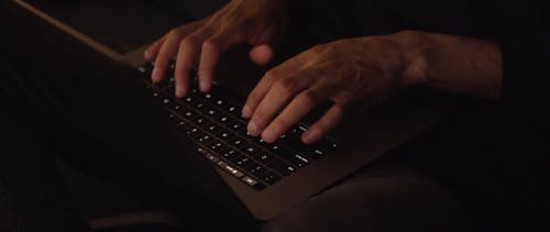 Person's Hands Using a Laptop for Typing
