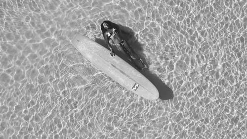 Top View of Woman Relaxing on Beach