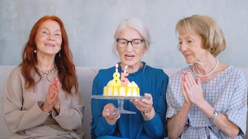 Old Women Celebrating A Birthday