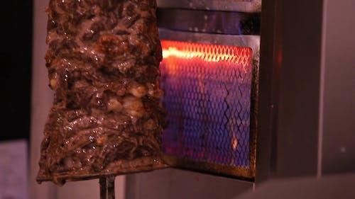 Preparation of Shawarma in Rotisserie