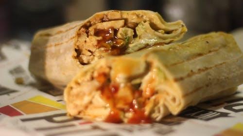 Grilled Burrito Cut into Half