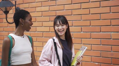 Dwie Kobiety Przechodzą Obok Ceglanego Muru Rozmawiając Ze Sobą
