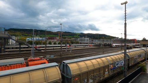A Train Station under Cloudy Sky