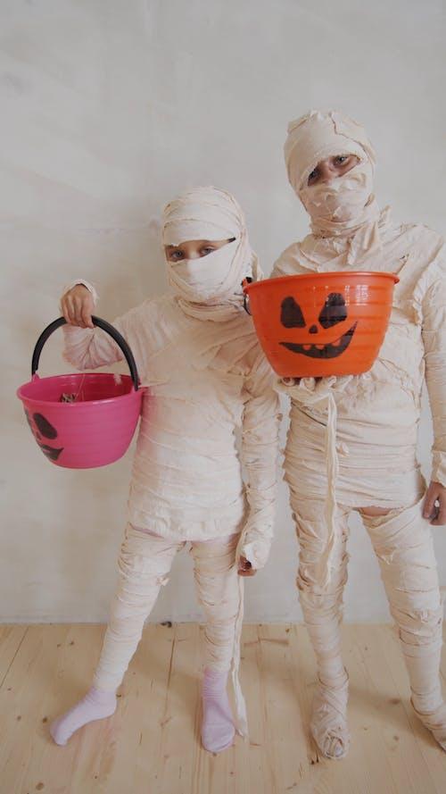 Kids In Mummy Costume For Halloween