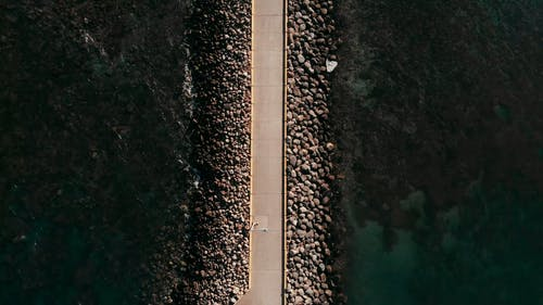 An Aerial Footage of a Pathway on the Ocean