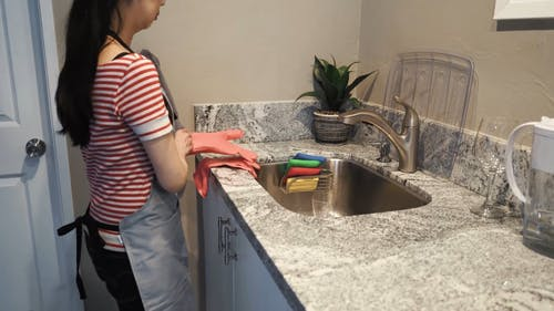 Woman Wearing Gloves and Washing a Plate