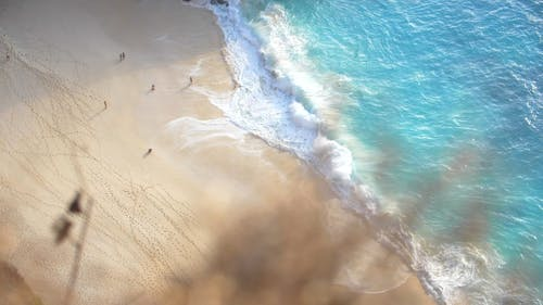 Drone Footage of Waves Crashing on Beach Shore