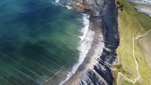 Drone Footage Of A Mountain Cliff Coast
