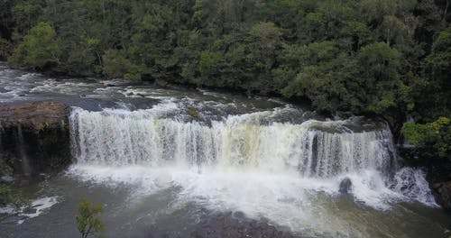 Drone Footage Of A River Waterfalls
