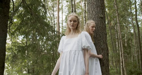 Twin Sisters Holding hands while Walking in the Forest