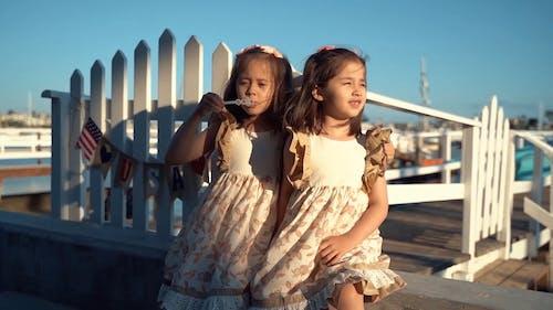 Девушка пускает пузыри со своей сестрой