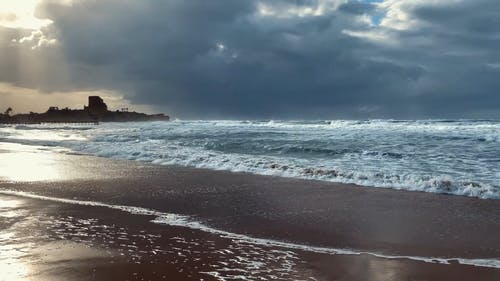 Beautiful Scenery of Ocean Waves Crashing on Seashore