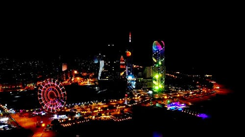 Drone Footage of a City Night Lights