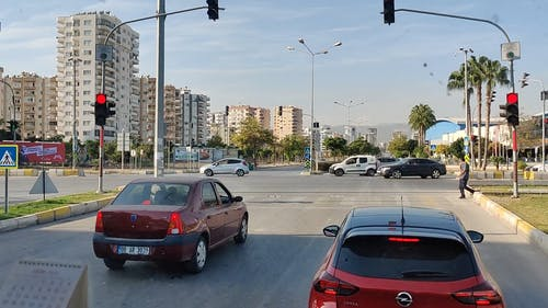 Cars Waiting in a Traffic Light