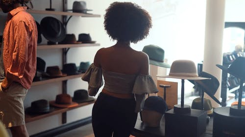 Woman Wearing a Hat In Front of a Mirror