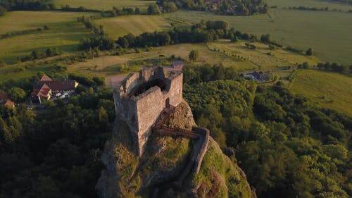 Aerial View of Medieval Castle Ruins