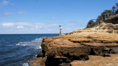 A Man Standing on the Edge of a Cliff Coast