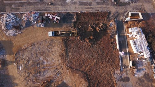 Aerial View of Machinery on a Construction Site