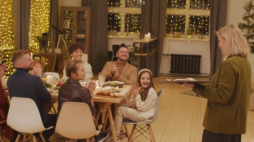 Family Having A sumptuous Dinner