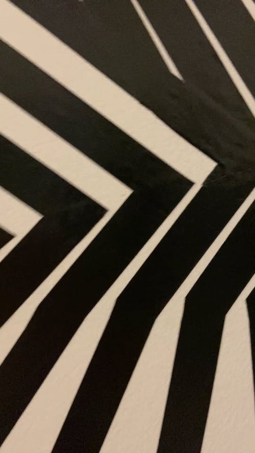 Vertical Video of Stripes Geometric Black and White Background and a Person Standing Outside