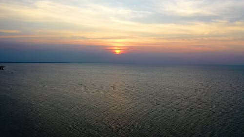 Scenic View of the Sunset Above the Sea