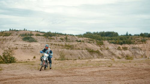 Motorcyclist in an Arid Outdoors