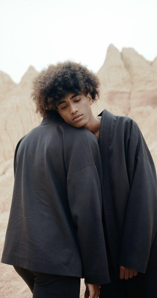 Two People in the Desert Wearing Kimonos
