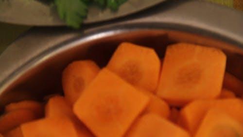 Close Up Shot of Chopped Carrots