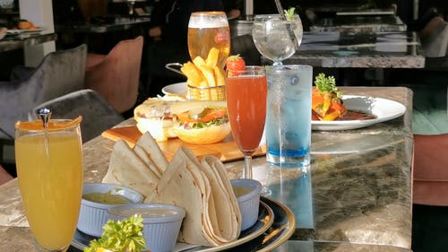 Food and Drinks on a Restaurant Table