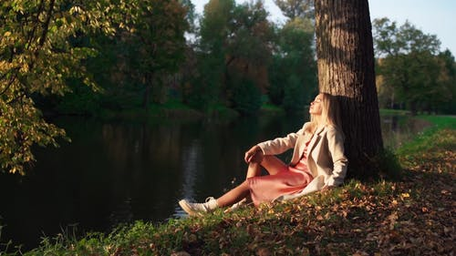 Young Woman Sitting by Lake Leaning Against Tree Trunk