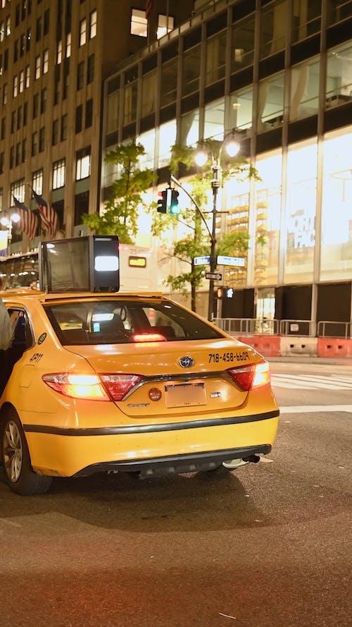 Cab on New York City Street Picking up Passengers