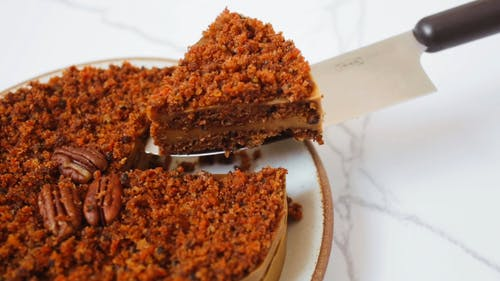 Close Up Shot of a Slice of Carrot Cake