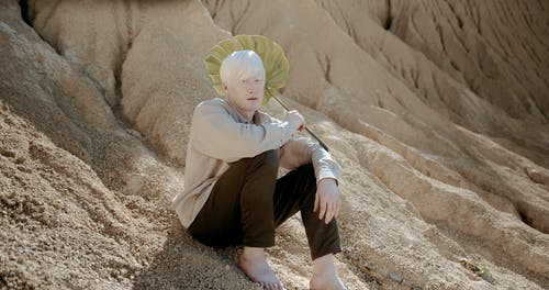 A Person on the Desert Holding a Monstera Leaf