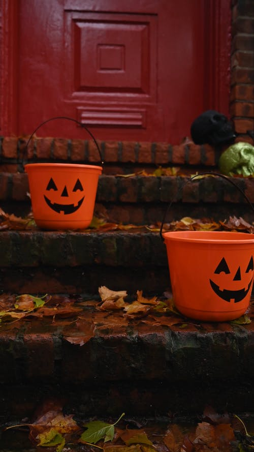 Halloween Buckets In the Patio