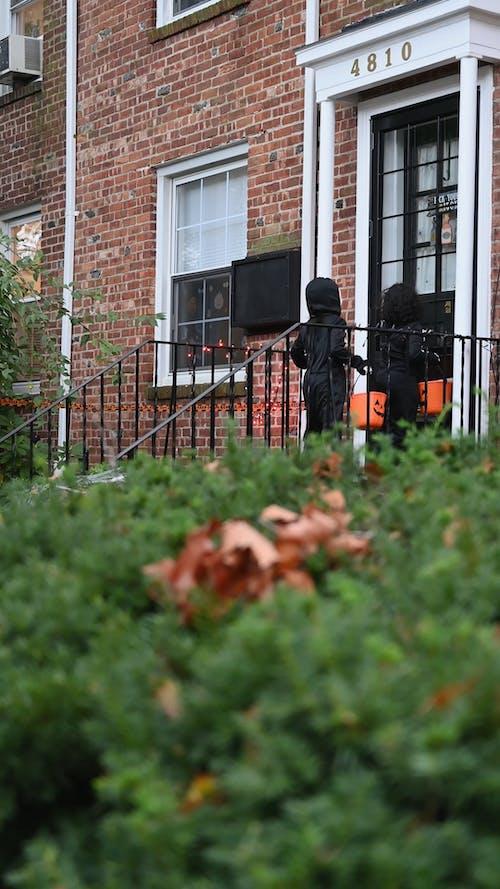 Children in Costume Knocking on Door During Halloween