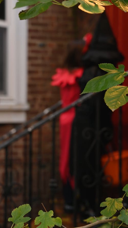 Young Children Knocking on Door Trick or Treating
