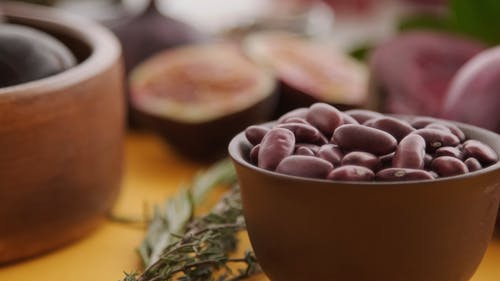 Purple Food on a Yellow Table