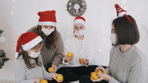 People Celebrating Christmas During A Pandemic