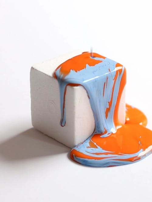 Pouring Paint on a Cube