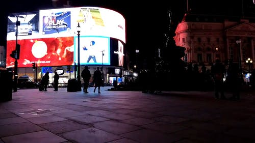 Bright Electronic Billboard In Piccadilly Circus London
