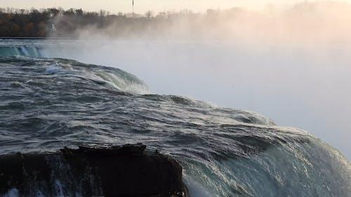 The Niagara Falls In A Close-up Video