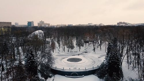 Aerial Footage of a Park During Winter