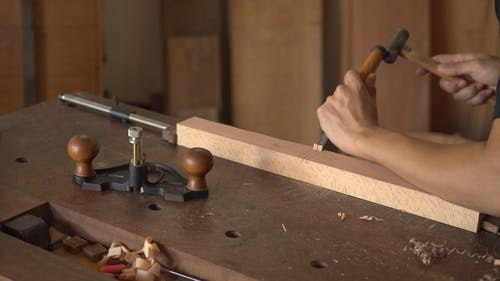 Using Hammer And Chisel In Woodworking