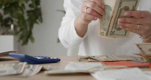 A Person Computing Dollar Bills
