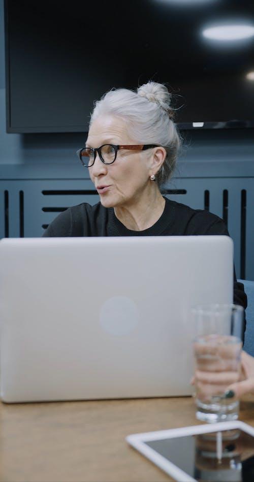 Starsza Kobieta Trzyma Spotkanie Biznesowe