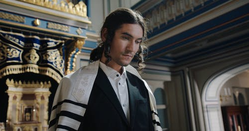 A Young Jewish Man Wearing Traditional Clothes