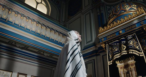 Low Angle View of a Man Wearing a Tallit