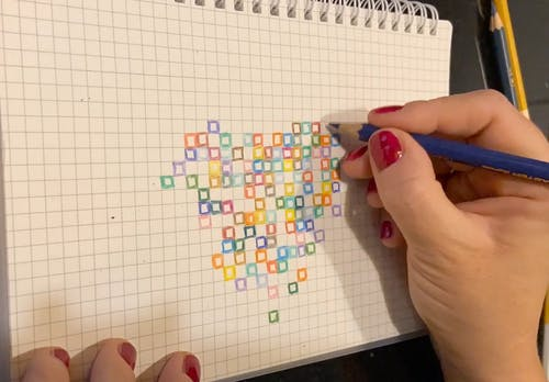 Colored Pixel Art of a Heart